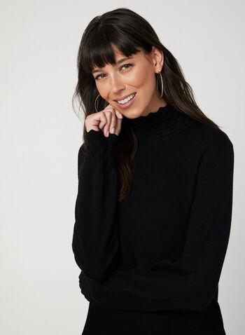 Pull en tricot à effet texturé, Noir,  automne hiver 2019, col cheminée, tricot, manches longues, bouffant
