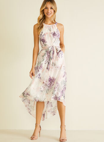 Floral Print Cleo Neck Dress, White,  day dress, floral, chiffon, sleeveless, cleo neck, spring summer 2020
