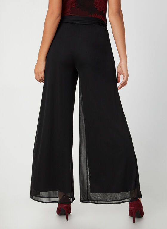 Wide Leg Mesh Pants, Black, hi-res