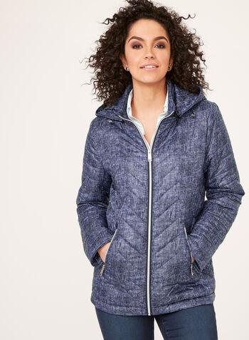 Manteau matelassé compressible avec capuchon amovible, Bleu, hi-res