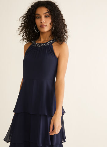 Cleo Neck Tiered Skirt Dress, Blue,  evening dress, sleeveless, cleo neck, embellishments, rhinestones, chiffon, tiered, spring summer 2020