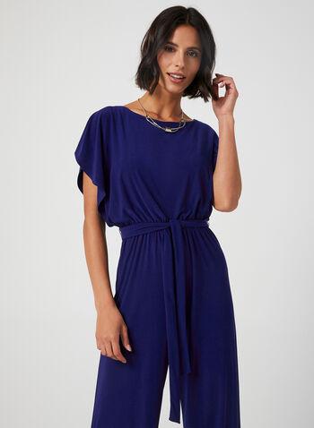 Soho - Batwing Sleeve Jersey Jumpsuit, Blue,  pantsuit, wide-leg jumpsuit