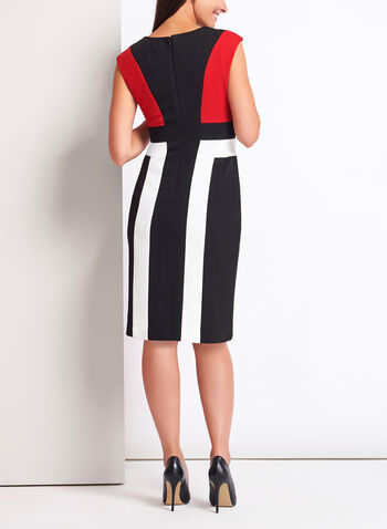 Colour Block Piqué Knit Dress, Black, hi-res