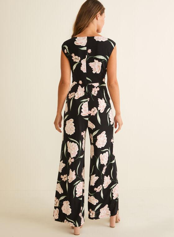 Floral Print Wide Leg Jumpsuit, Black