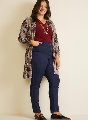 Jeans à jambe droite , Bleu,  jeans, jambe droite, automne hiver 2020, 5 poches, ganses