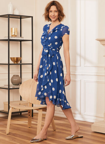 Dotted Print Flounce Trim Dress, Blue,  dress, day, chiffon, flounce, ruffle, polka dot, crossover, v-neck, short sleeves, tie, sash, belt, spring summer 2021
