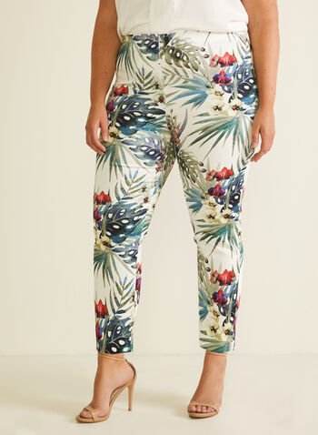 Joseph Ribkoff - Tropical Print Pull-On Pants, White,  pants, pull-on, tropical, city fit, slim leg, stretchy cotton, ankle length, spring summer 2020