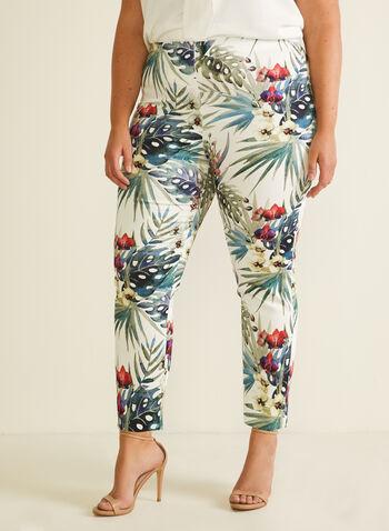 Joseph Ribkoff  - Pantalon tropical pull-on, Blanc,  pantalon, pull-on, cité, jambe étroite, tropical, coton, printemps été 2020