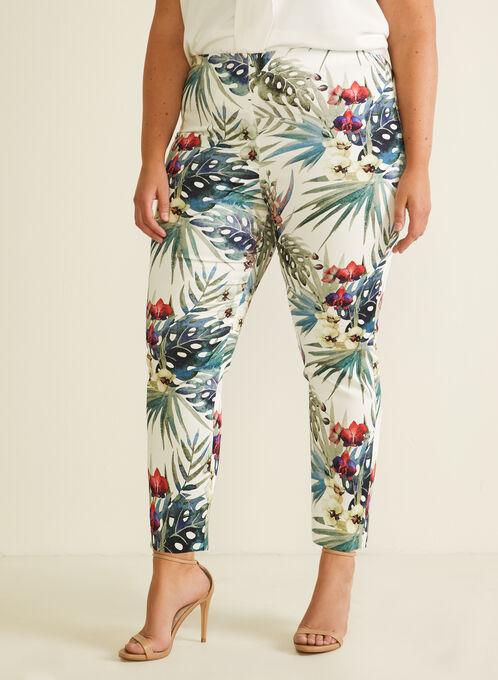 Joseph Ribkoff - Tropical Print Pull-On Pants, White