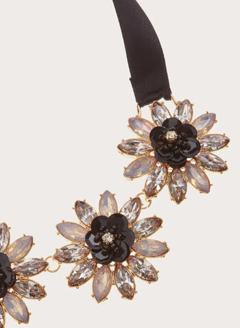 Crystal Flower Satin Necklace, Black, hi-res