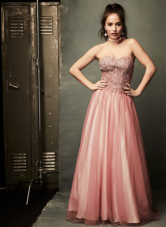 Beaded Corset Ball Gown, Pink