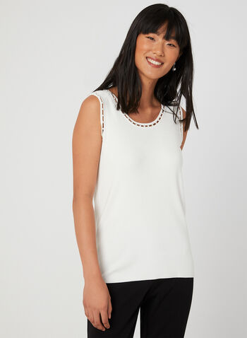 Sleeveless Knit Top, Off White,  knit, ribbed, pearls, sleeveless, fall 2019, winter 2019