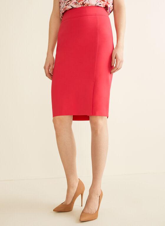 Topstitch Detail Pencil Skirt, Red
