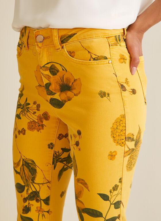 Floral Denim Capri Pants, Yellow