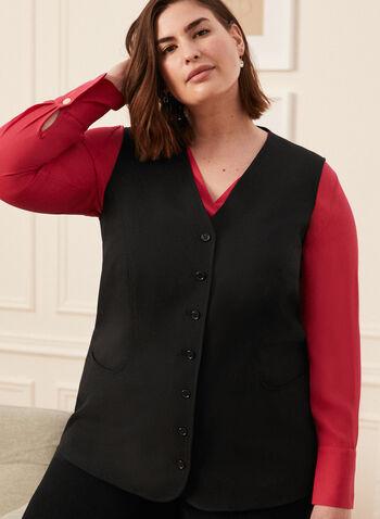 Veste sans manches boutonnée, Noir,  veste, blazer, costume, encolure en V, col en V, sans manches, boutons, patte boutonnée, fait au Canada, printemps été 2021