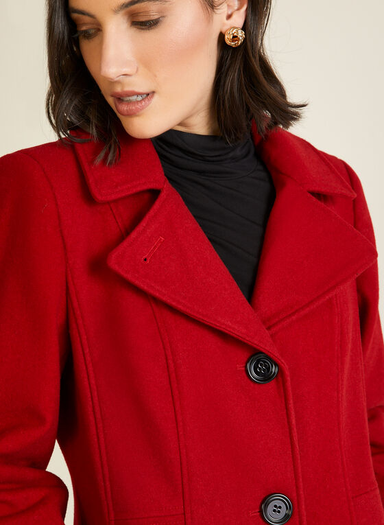 Structured Wool Blend Coat, Red