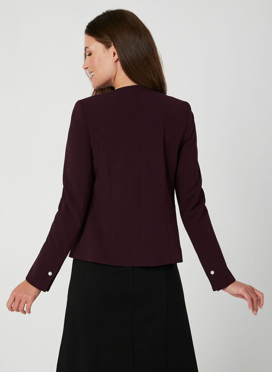 Pearl Detail Open Blazer, Purple