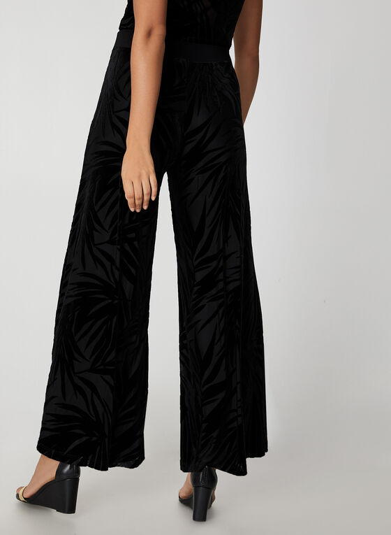 Wide Leg Velour Leaf Print Pants, Black
