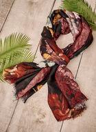 Foulard léger à motif floral, Noir