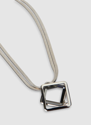 Short Square Pendant Necklace, Grey,  snake chain, double chain, necklace, short necklace, square, pendant, fall 2019, winter 2019