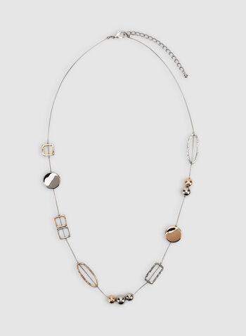 Collier deux tons à détails géométriques, Jaune, hi-res,  automne hiver 2019, collier, bijou, chaîne, accessoire, géométrique