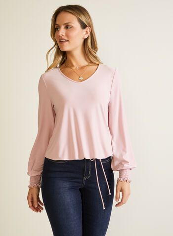 Balloon Sleeve V-Neck Top, Pink,  top, balloon sleeve, jersey, v-neck, tie, fall winter 2020