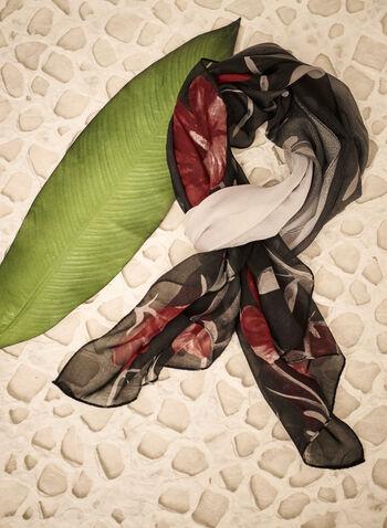 Foulard léger en mousseline fleurie, Rouge,  automne 2021, accessoires, écharpe, foulard, léger, oblong, chiffon, mousseline, coquelicot, floral, fleur, imprimé, motif