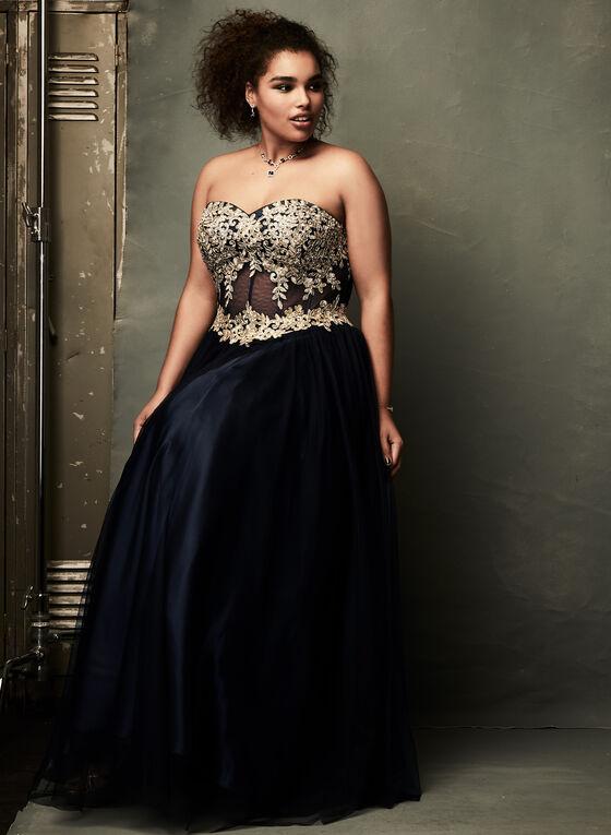 Robe corset avec appliqués dorés et strass, Bleu, hi-res