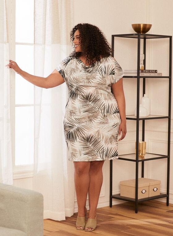 Tropical Print Cold Shoulder Dress, White