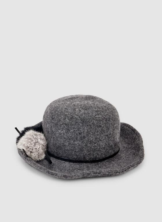 Pompom Wool Hat , Grey