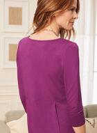 T-shirt uni à manches 3/4 , Violet