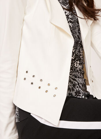 Faux Suede Grommet Detail Jacket, Off White, hi-res