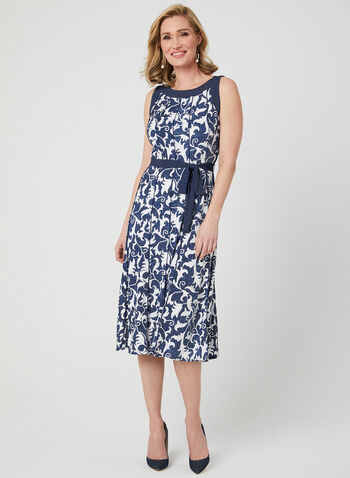 Scroll Print Jersey Dress, Blue,  day dress, sleeveless, scroll print, jersey, spring 2019