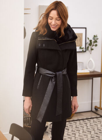 Stretch Faux Wool Trench Coat, Black,  fall winter 2021, outerwear, jacket, coat, trench, wool, stretch, faux, blend, lapel collar, belted, vegan leather, semi fitted, detachable, lining, faux fur, collar, warmth, comfort, fabric, long sleeves