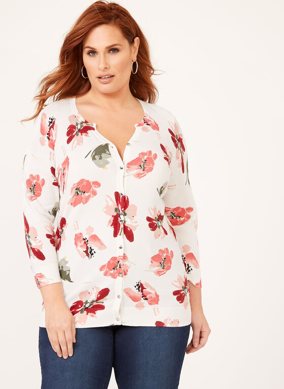 Cardigan fleuri en tricot à boutons métalliques, Blanc, hi-res