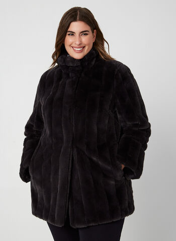 Novelti - Faux Fur Coat, Blue,  Novelti, faux fur, coat, long sleeves, fall 2019, winter 2019