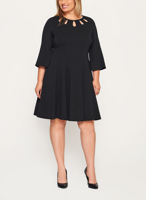 Teardrop Detail Fit & Flare Dress, Black, hi-res