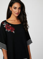 Pull coupe poncho à roses et rayures, Gris, hi-res