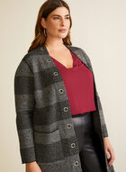 Open Front Striped Cardigan, Grey