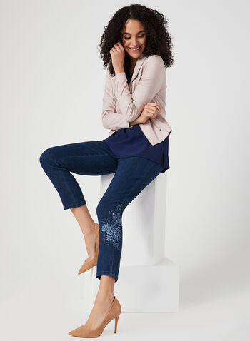 Simon Chang - Signature Fit Slim Leg Jeans, Blue, hi-res,  embroidery, pearls, denim, pockets, spring 2019