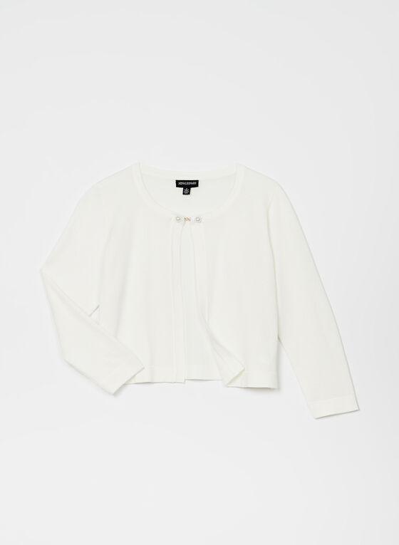 Nina Leonard – Pearl Clasp Knit Bolero, Off White, hi-res
