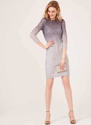 Ombré Lace Illusion Dress, Silver, hi-res