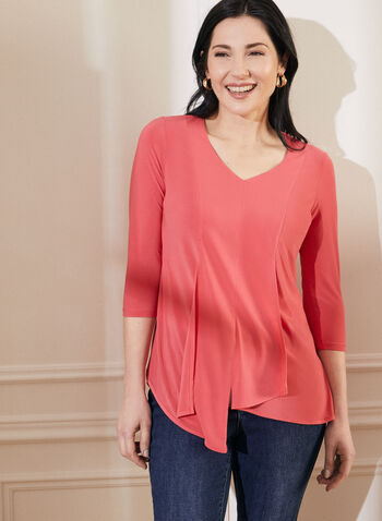 Asymmetrical Layer Effect Tunic, Red,  top, v-neck, 3/4 sleeves, stretchy, asymmetrical, layering, spring summer 2021