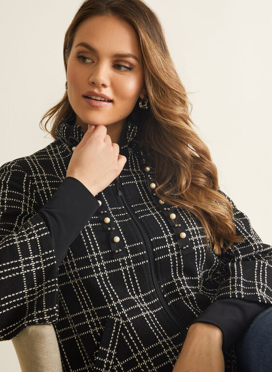 Plaid Knit Zip Front Jacket, Black