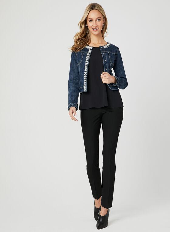 Veste en jean à détails perles et pierres, Bleu