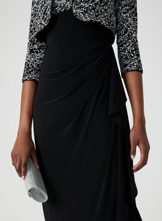 Robe à fibres métallisées et boléro assorti, Noir, hi-res