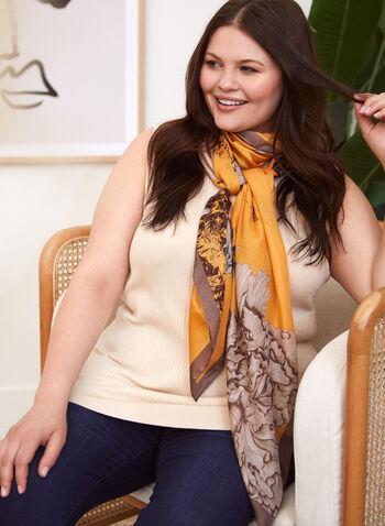 Floral Print Lightweight Scarf, Brown,  accessories, fall winter 2021, scarf, accessory, lightweight scarf, floral, abstract, oblong, rectangular, satin, silk, silky