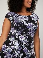 Robe fleurie style enveloppe en jersey, Noir, hi-res