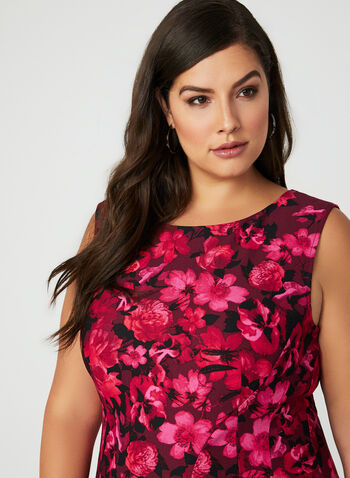 Floral Print Fit & Flare Dress, Red, hi-res