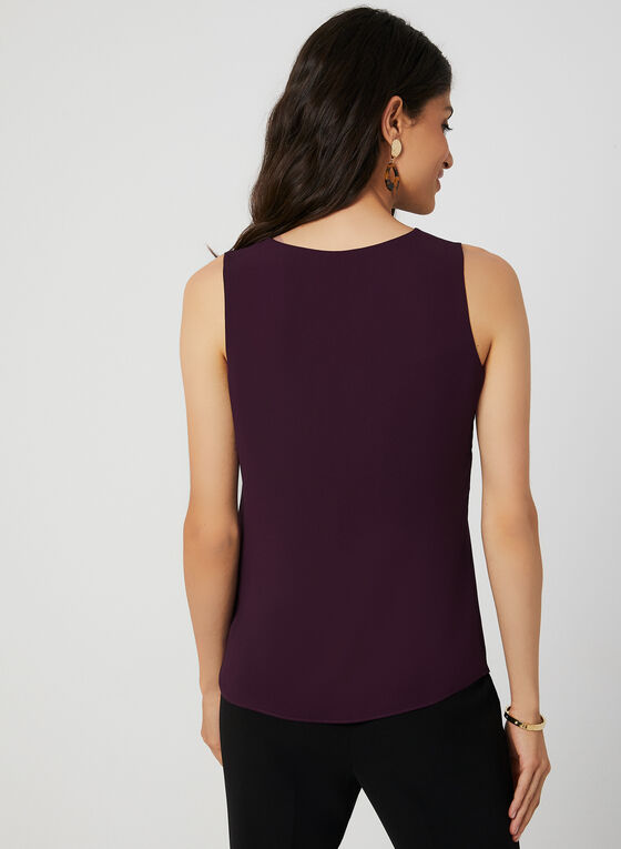 Button Neck Sleeveless Top, Purple